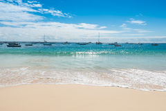 在婆罗双树佛得角- Cabo Verde的圣玛丽亚海滩 库存照片