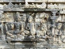 在婆罗浮屠寺庙的安心在Jogja,印度尼西亚 免版税库存照片