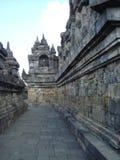 在婆罗浮屠寺庙霍尔的安心 库存图片