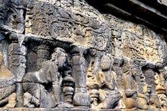 在婆罗浮屠寺庙,印度尼西亚的安心 免版税图库摄影