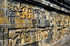 在婆罗浮屠寺庙,印度尼西亚的安心 免版税库存照片