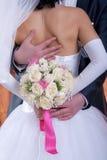 在婚礼之日的新娘花束 库存图片
