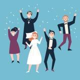 在婚礼以后 新娘、新郎和客人 向量例证