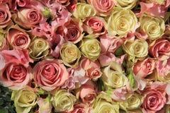 在婚礼安排的白色和桃红色玫瑰 免版税库存照片