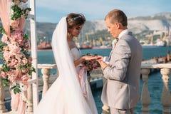 在婚礼曲拱交换的夫妇敲响与背景的湖,有长的美丽的头发的黑色的新娘和新郎 免版税库存图片