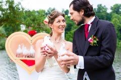 在婚礼的新娘夫妇与白色鸠 免版税库存照片