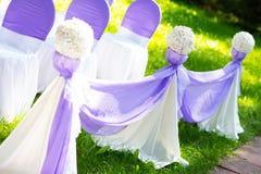 在婚礼的椅子 装饰 免版税库存图片