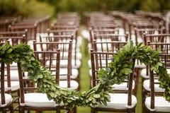 在婚礼的椅子 免版税库存照片