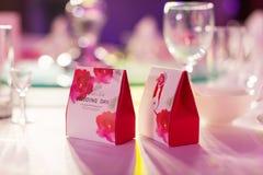 在婚礼的糖果配件箱 库存照片