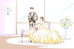在婚礼的美好的夫妇 免版税图库摄影