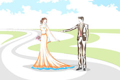 在婚礼的美好的夫妇 免版税库存照片