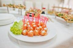 在婚礼的食物 免版税库存图片