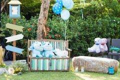 在婚礼聚会的装饰 免版税库存图片