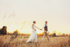 在婚礼衣裳的一对夫妇在领域走在日落、新娘和新郎 免版税库存图片