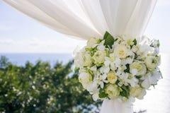在婚礼设置的花 库存照片