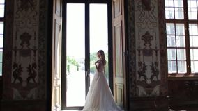 在婚纱立场的美好的夫妇在博物馆 他们互相看 股票视频