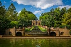 在子午小山公园的落下的喷泉,在华盛顿特区, 免版税库存照片