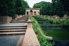 在子午小山公园的落下的喷泉,在华盛顿特区, 免版税库存图片