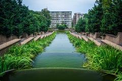 在子午小山公园的落下的喷泉,在华盛顿特区, 库存图片