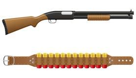 在子弹带的猎枪和壳 库存照片
