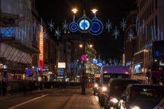 在子线,伦敦英国的圣诞节装饰 库存图片