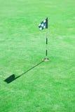 在孔的高尔夫球旗子 库存图片