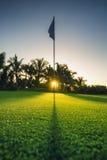 在孔,高尔夫球场 库存照片