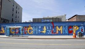 在字母表城市的墙壁上的艺术在东部村庄,更低的曼哈顿 库存照片