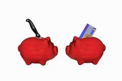 在存钱罐和猪肉之间的替代 图库摄影