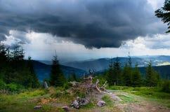 在孚日省山的雷暴 库存照片