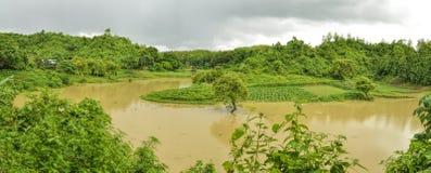 洪水在孟加拉国 库存照片