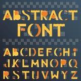 在孟菲斯样式的抽象五颜六色的几何字体 向量例证