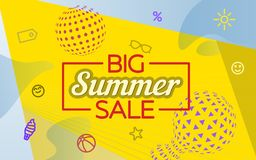 在孟菲斯样式的现代横幅 大销售额夏天 特价优待 网站和广告的模板 色的背景机智 免版税库存照片