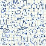在学校方格纸的化学制品乱画 皇族释放例证
