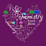 在学校方格纸的Chemystry乱画 向量例证