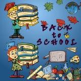 在学校题材,学校设计的儿童的color_1_illustration  免版税库存照片