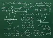 在学校黑板教育的算术配方 免版税库存照片