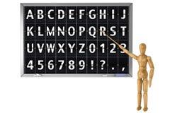 在学校黑板的轻碰字母表 免版税图库摄影