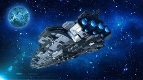 在宇宙、航天器飞行在外层空间与行星和星的外籍人太空飞船在背景,飞碟后方底视图中 皇族释放例证