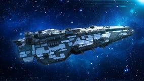 在宇宙的外籍人太空飞船,在外层空间的航天器飞行与星在背景,飞碟顶视图, 3D中回报 皇族释放例证
