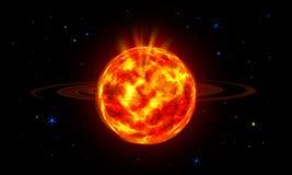 在宇宙的太阳或空间、太阳和星系 免版税库存照片