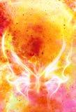 在宇宙空间的轻的蝴蝶和火发火焰 上色宇宙抽象背景 库存照片