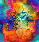 在宇宙空间,三只眼查克拉的装饰坛场 皇族释放例证