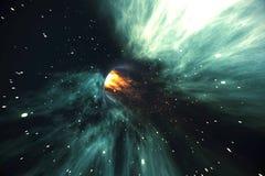 在宇宙间 旅行在空间 时间旅行 克服在波斯菊的临时性空间场面  3d翻译 向量例证
