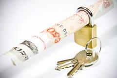 在安全挂锁的50磅 免版税库存照片
