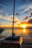 在安德罗斯,巴哈马海岛的日落  免版税库存照片