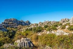在安特克拉-西班牙的岩层El Torcal的看法 免版税库存照片