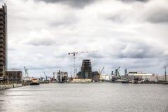 在安特卫普港的看法  免版税库存照片