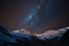 在安纳布尔纳峰范围,尼泊尔的银河 免版税库存图片