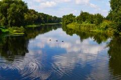 在安静的俄国河的风景 免版税图库摄影